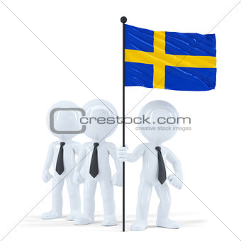 Business team holding flag of Sweden. Isolated. Contains clipping path