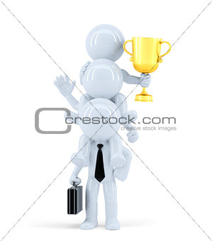 Business team winning a competition. Isolated. Contains clipping path