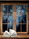 Open book on windowsill