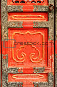 Ancient door in Forbidden City, Beijing, China