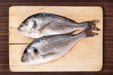Sea bream on cutting board.