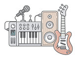 Music tools in wireframe style: guitar, synthesizer, microphone,