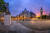 Panorama of Parliament Square and Queen Elizabeth Tower in Londo