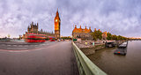 Panorama of Queen Elizabeth Clock Tower and Westminster Palace