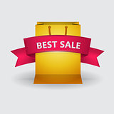Vector ad layout for sale with pink ribbon