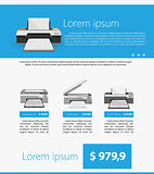 Flat minimalist vector template business design. Gray printers.