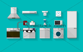 Flat vector icons for kitchen appliances