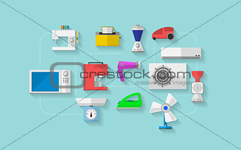 Flat vector icons for household appliances