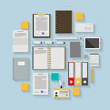 Flat vector icons for business workflow