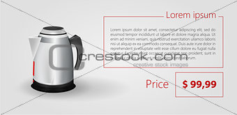 Flat minimalist vector template business design. Electric kettle.