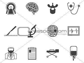 Black vector icons for neurosurgery