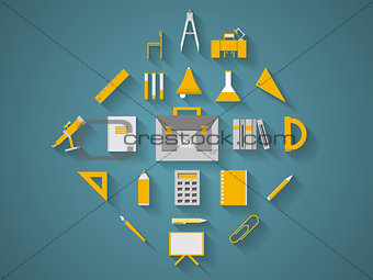 Flat vector icons for school supplies