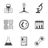 Black vector icons for bacteriology