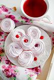 Homemade zefir (marshmallows) and cup of tea