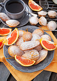 Fresh orange madeleines cookies
