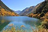 Scenic view of Rhinoceros Lake at Jiuzhaigou