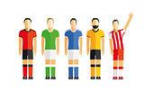 five football players