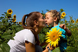 Kid mum in sunflowers