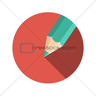 Flat Design Concept Pencil Vector Illustration With Long Shadow.