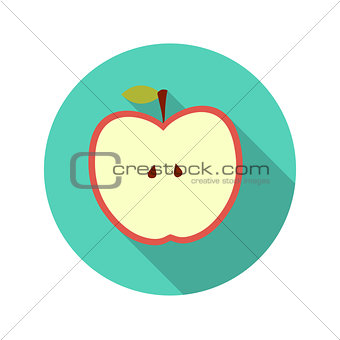 Flat Design Concept Apple Vector Illustration With Long Shadow.