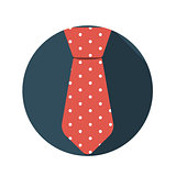 Flat Design Concept Tie Vector Illustration With Long Shadow.