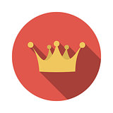 Flat Design Concept Vector Crown Illustration With Long Shadow.