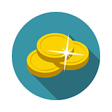 Flat Design Concept Vector Coin Illustration With Long Shadow.