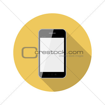 Flat Design Concept Phone Vector Illustration With Long Shadow.