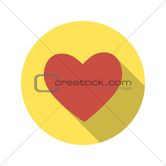 Flat Design Concept Heart Vector Illustration With Long Shadow.