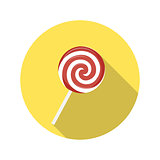 Flat Design Concept Candy Vector Illustration With Long Shadow.