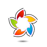Rainbow colored floral design element or logo for web use