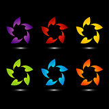 Set of colorful flower logos with shadow