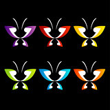 Butterfly logo in rainbow colors