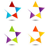 Set of colorful star logos