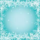 Christmas snowflakes on turquoise background.