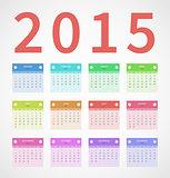 Calendar annual 2015 in flat design