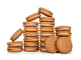 stack of cookies with cream isolated on white background