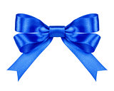 blue satin bow on the isolated white background