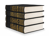 stack of vintage books black with gold pattern on a white backgr