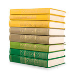 stack of vintage books in a green and yellow cover on a white ba