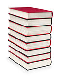 stack of vintage red and black books on a white background