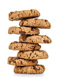 stack of chocolate chip cookies isolated on white background.