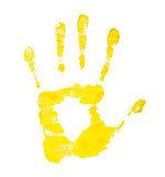 lemon yellow handprint on an isolated white background
