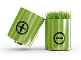 ecology concept a net energy. A battery and a grass on a white b