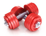 Big black dumbells over white background