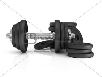 Fitness exercise equipment dumbbell weights on white background.