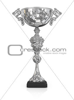 champion silver trophy isolated on white