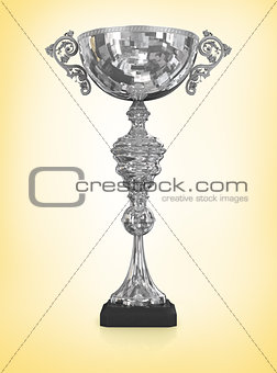 champion silver trophy isolated on yellow