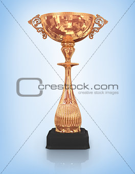 champion bronze trophy isolated on blue