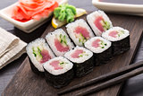 Sushi rolls with tuna and cucumber